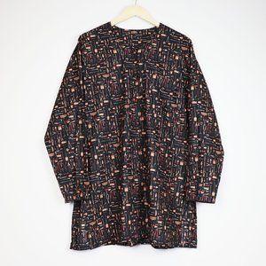Artsy Novelty Farming Tools Pattern Quirky Button Shirt Dress L/XL